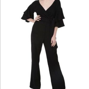 WAYF Blake Tiered Flutter Sleeve Jumpsuit Large
